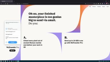 WeTransfer 1 - Upload filer og skriv modtagers og din egen email-adresse