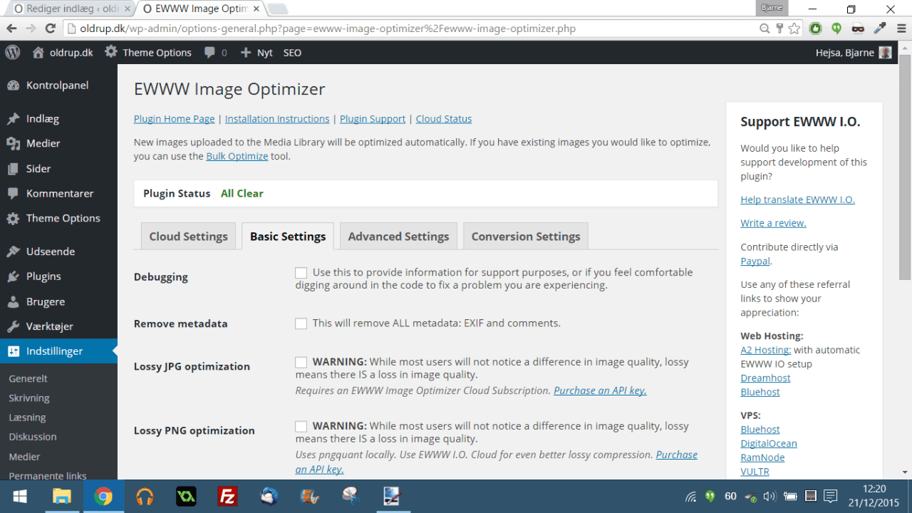 EWWW Image Optimizer komprimerer dine jpeg filer en smule
