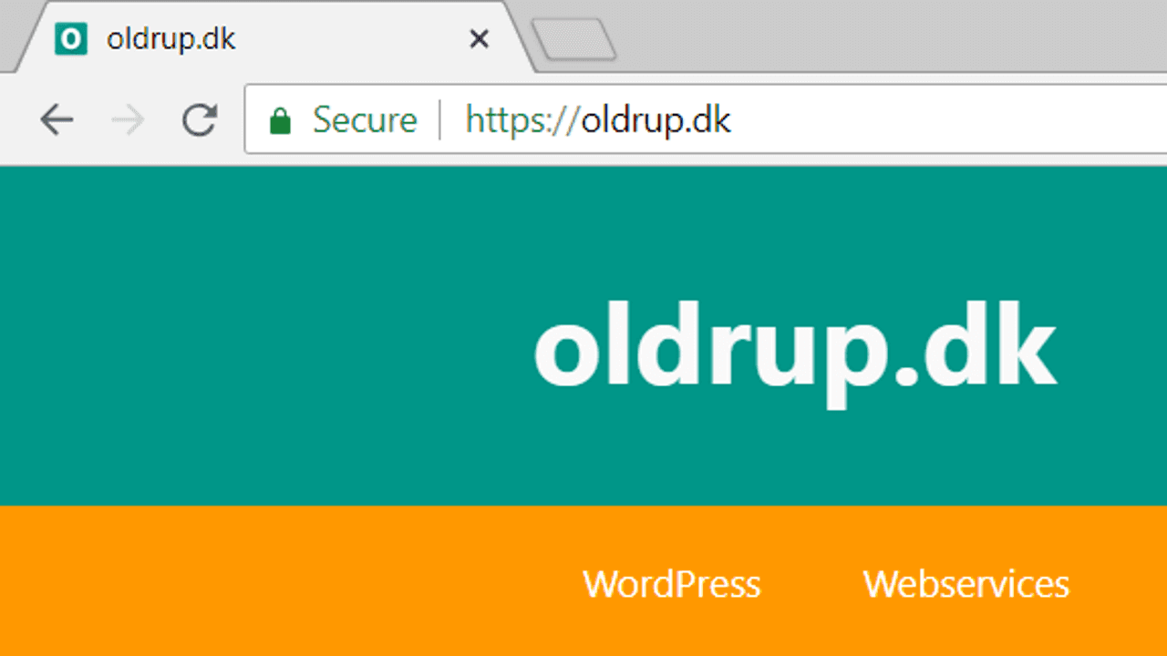 Eksempel på grøn hængelås i browserens adresselinje