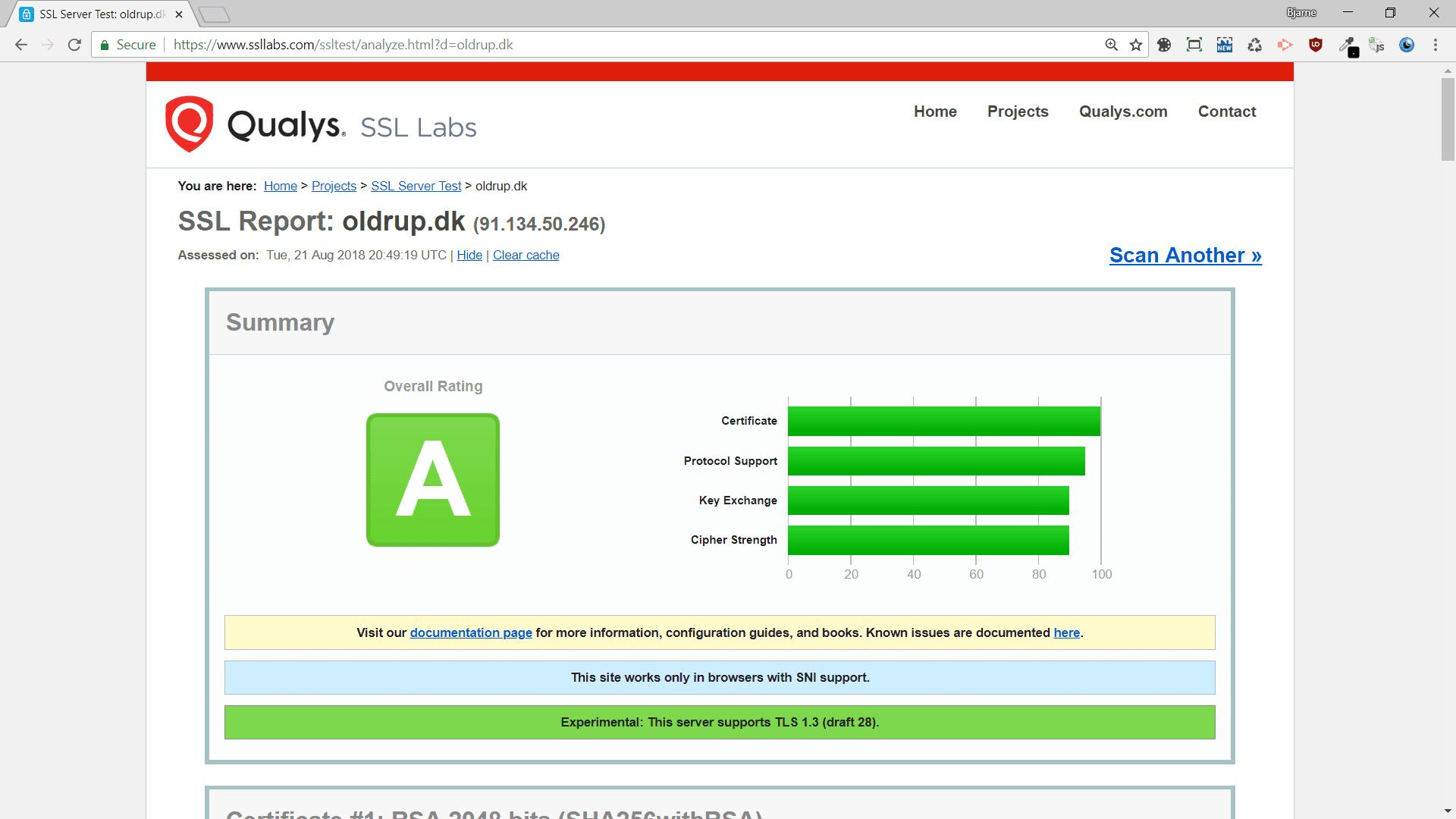 Qualsys SSL certifikat tjek fortæller bl.a hvilke browsere dine certifikater fungerer med.