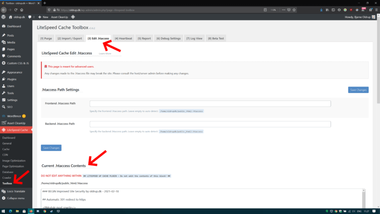 Editing htaccess using LiteSpeed Cache Toolbox