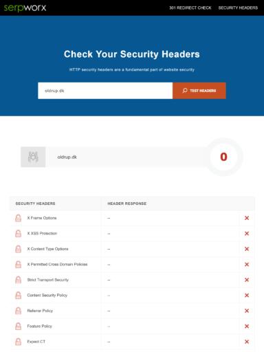 Serpworx Security Headers før