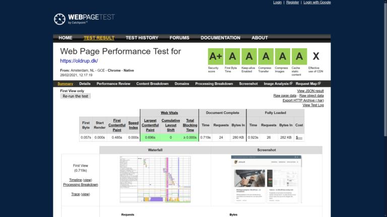 WebPageTest.org efter screenshot