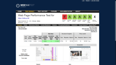 WebPageTest.org før screenshot