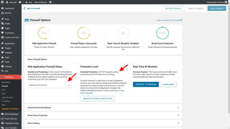 Enhanced Protection aktiveret under Wordfence Basic Firewall Options