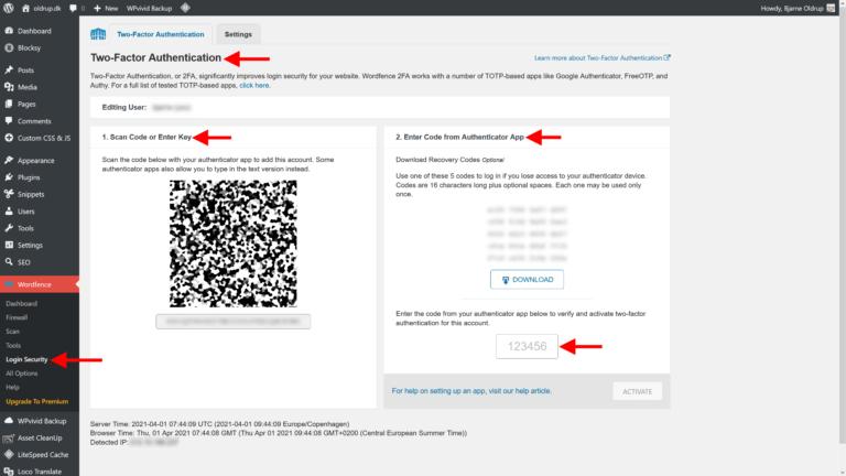 Aktivering af Two-Factor Authentication i Wordfence